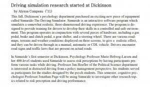 Psychology Department Dickinson College Research on driving simulation