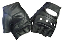 black leather fingerless driver gloves